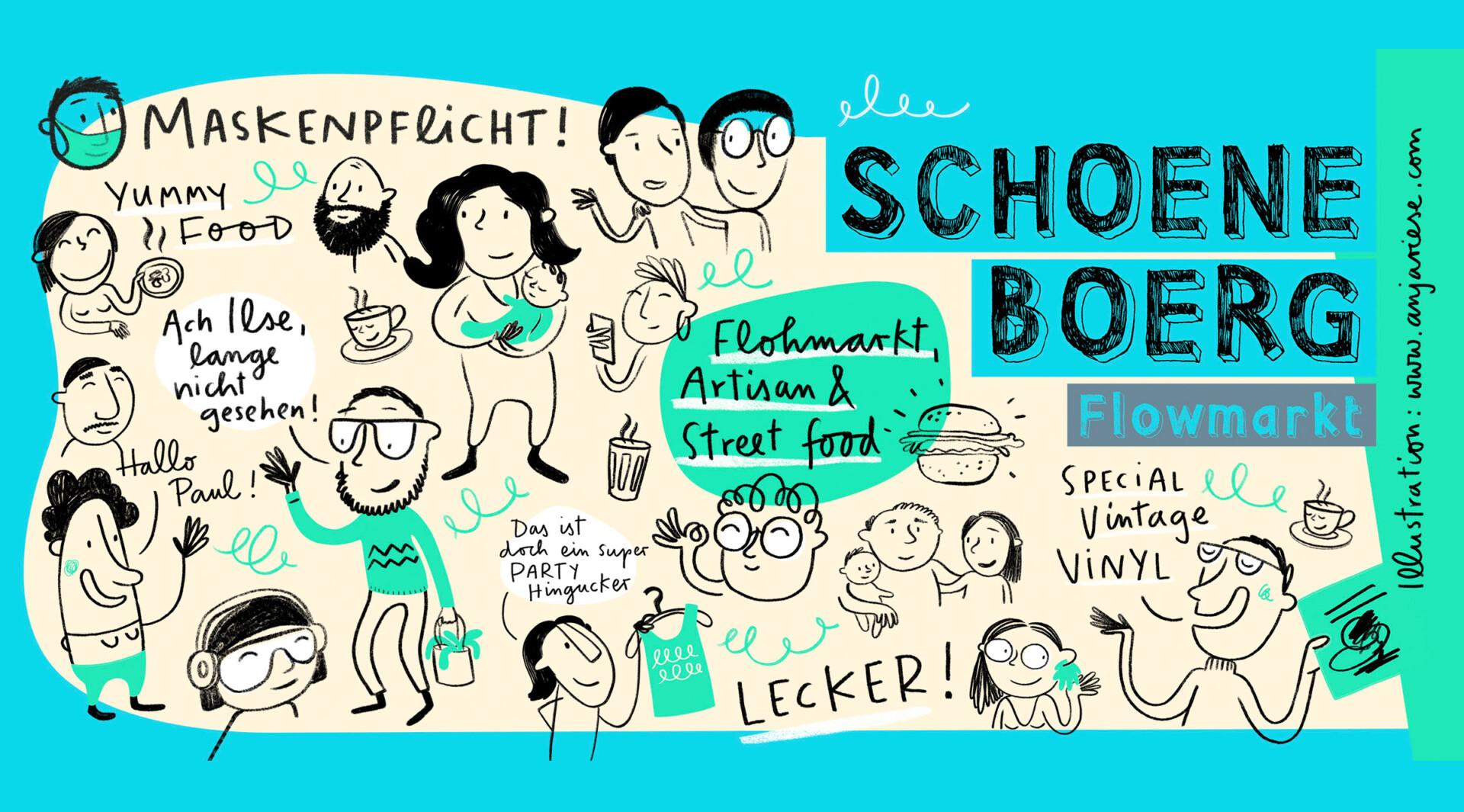 Illustration für den Schoeneboerg Flowmarkt