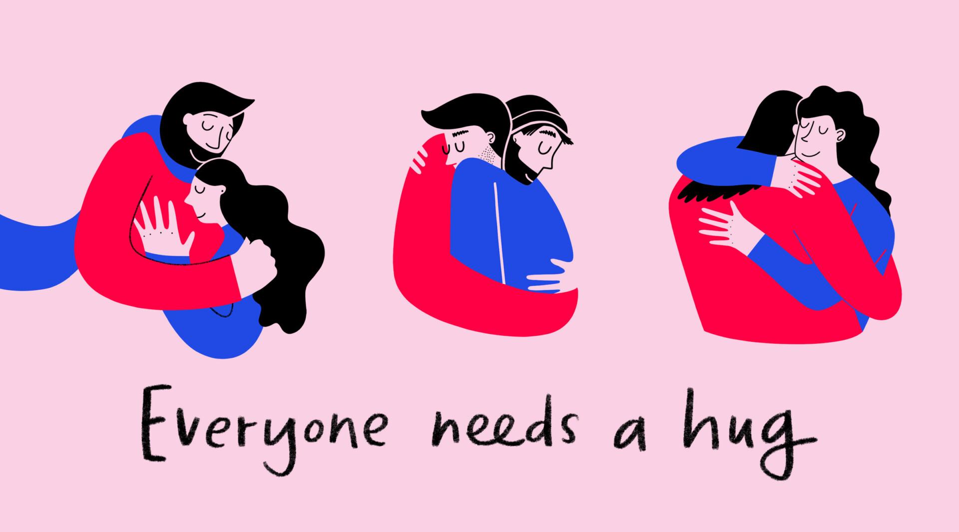 Umarmung Hug Illustration People