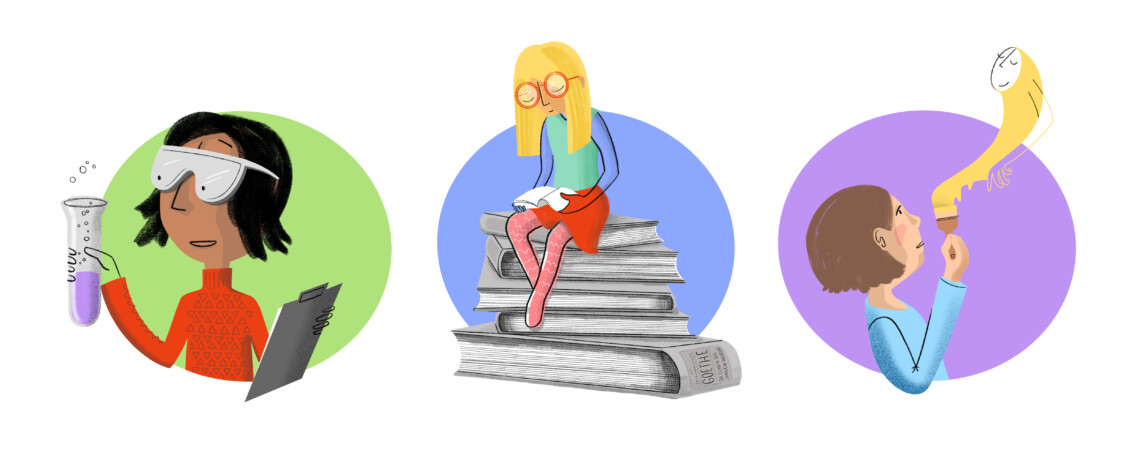 Illustration Schule Schulfächer