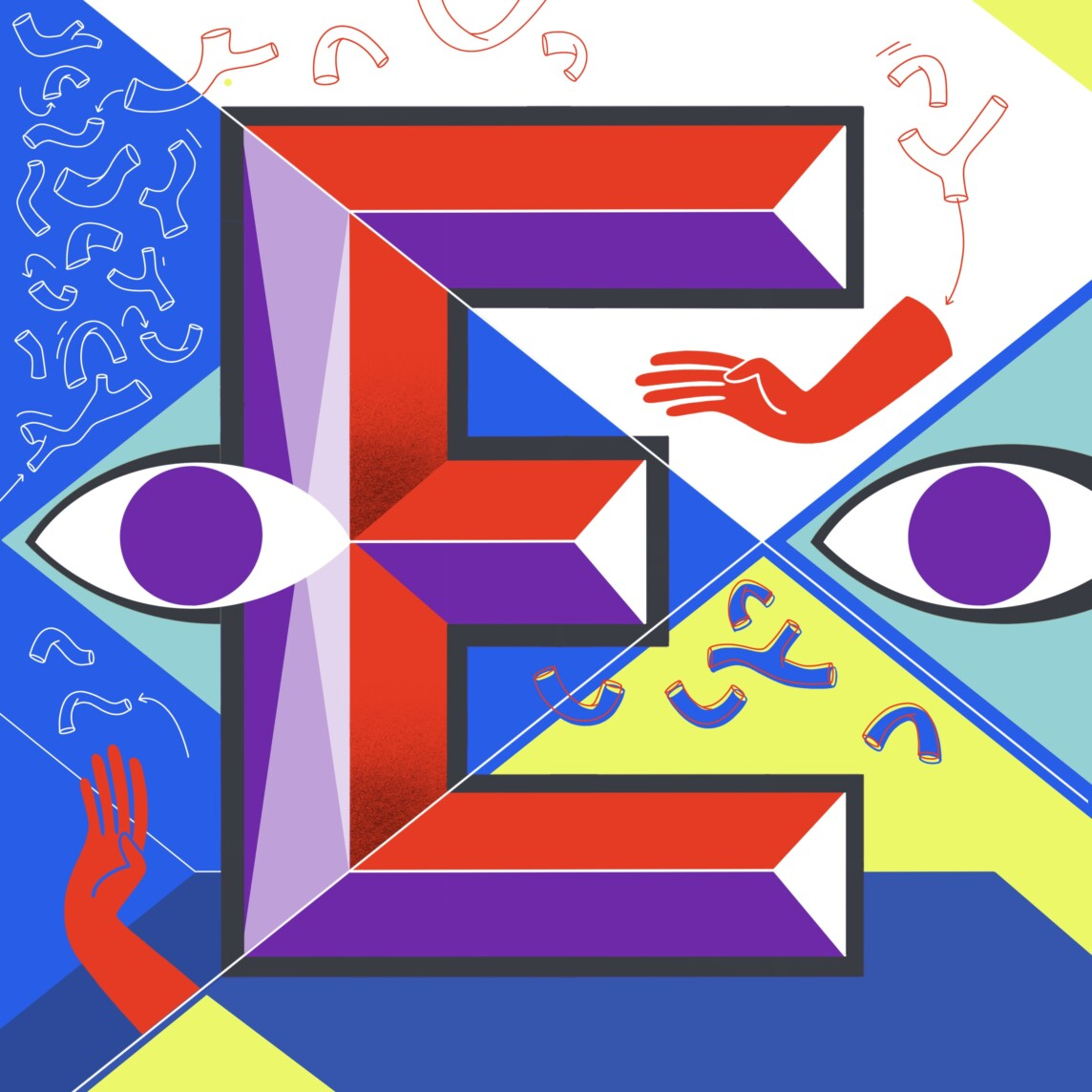 Lettering Abstract Bold Letter E