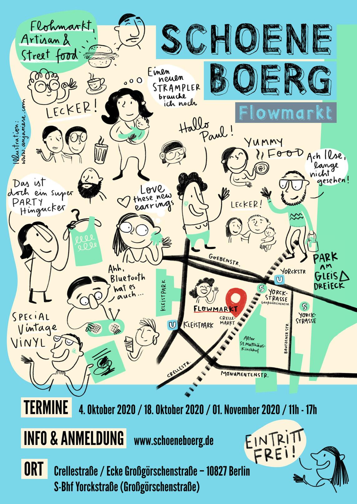 Poster Design & Illustration für den Schoeneboerg Flowmarkt